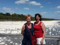 Lovely ladies from Canada staying at Silver Sands Resort enjoying their Cruise and Tour, withMandurah Cruises and Mandurah Wine Tours and Charters. This photo is taken at the Thrombolites.